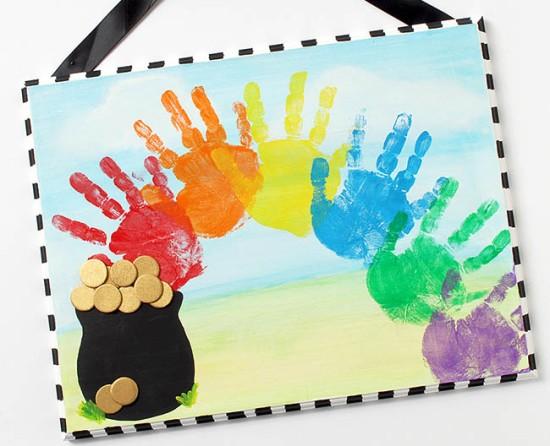 Rainbow hand print art